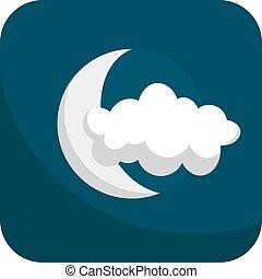 -, en parte, oscuridad, nublado, luna azul, simple, nube, ...