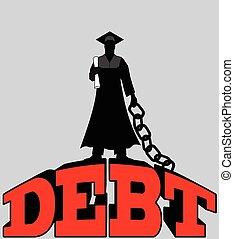 -, encadenado, colegio, deuda, estudiante, graduado