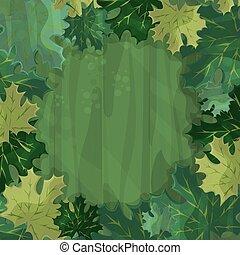 -, enchanté, texte, decoration., dessin animé, cadre, forêt, feuille verte érable