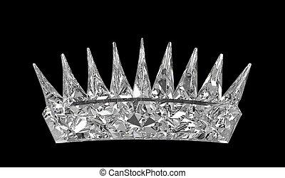 -, encima, corona, negro, monarca, piedra preciosa