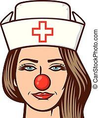 -, enfermeira, médico, vermelho, dia, nariz, ilustração