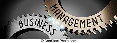 -, engrenages, 3d, illustration, concept, gestion, business