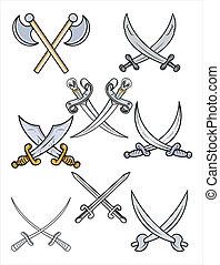 -, ensemble, vecteur, épées, traversé