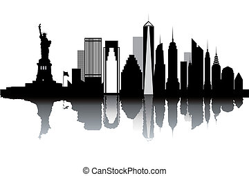 nyc skyline stock illustration images 952 nyc skyline illustrations rh canstockphoto com NYC Skyline Line Art nyc skyline black and white clipart