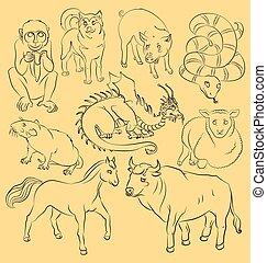 Bull-dog-dragon-horse-monkey-pig-rat-sheep-snake