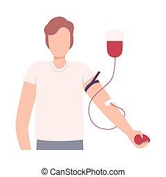 Blut geben. Einfache grafik einer hand mit ...