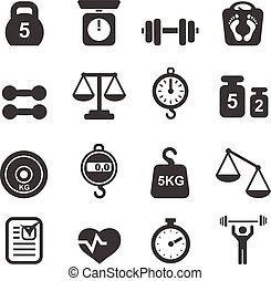 -, equilibre peso, ícone, jogo, balanças pesando