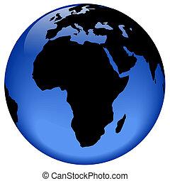 -, erdball, afrikas, ansicht