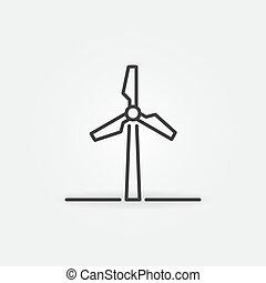-, esboço, vetorial, dê energia corda, sinal, ícone, turbina