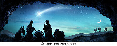 -, escena familia, santo, natividad, jesús