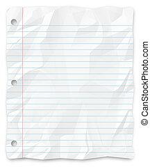 -, escrita, papel, perfurado, estudante, three-hole,...