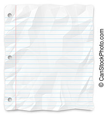 -, escritura, papel, perforado, estudiante, three-hole,...