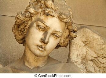 -, escultura, ángel, cara