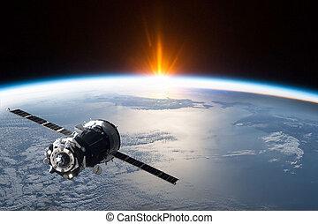 -, espace, ceci, image, fourni, éléments, satellite, nasa