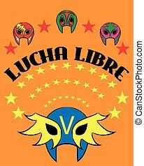 -, espanhol, mexicano, libre, cartaz, lucha, texto, máscara, wrestler, wrestling