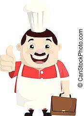 -, esposizione, cartone animato, grasso, divertente, cuoco, pollice