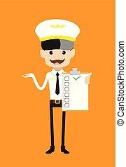 -, esposizione, cartone animato, pilota, assistente volo, lista