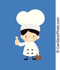 -, esposizione, cartone animato, pollice, carino, su, chef