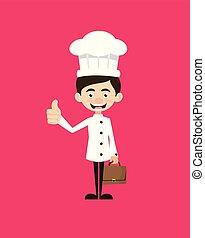-, esposizione, cartone animato, pollice, chef