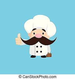 -, esposizione, divertente, pollice, corto, su, chef