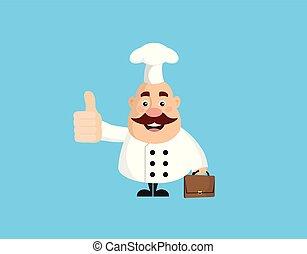 -, esposizione, grasso, divertente, pollice, chef