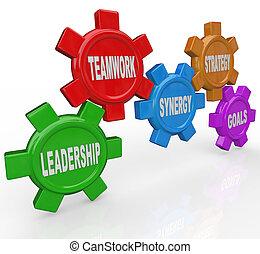 -, estratégia, sinergia, liderança, trabalho equipe, engrenagens, metas