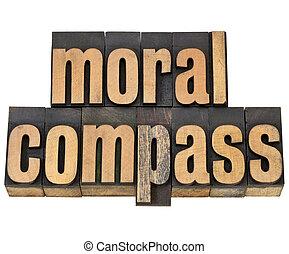 -, ethiek, kompas, moraal, concept