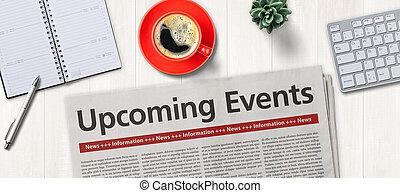 -, eventi, upcoming, giornale, scrivania