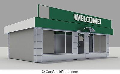 -, exterior, quiosque, ilustração, loja