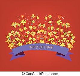 -, fényes, születésnap, tervezés, virágos, kártya, boldog