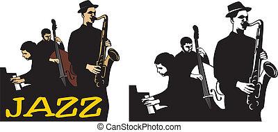 -, faixa, escola, jazz, antigas