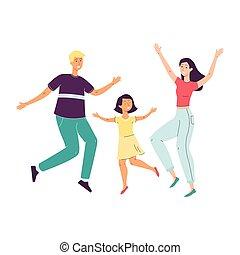 -, família, pular, feliz, caricatura, sorrindo, dançar, pais, criança