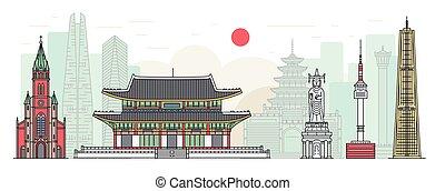 -, famoso, ciudad, sur, seúl, paisaje, bandera, edificio, corea, cityscape