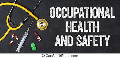 -, farmacêutica, profissional, estetoscópio, saúde, quadro-negro, segurança