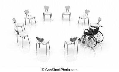 -, fauteuil roulant, individualité, concept