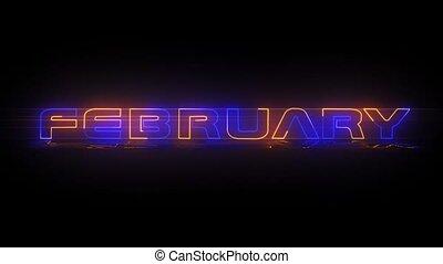 -, februar, animation, neon, text