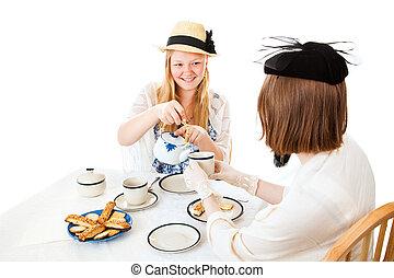 -, feestje, gieten, tiener, thee