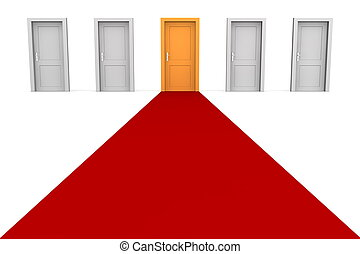 -, fem, dörrar, apelsin, röd matta