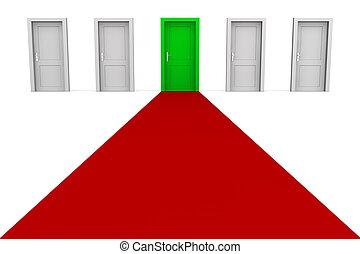 -, fem, dörrar, grön röd, matta