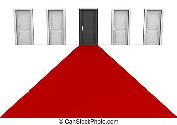 -, fem, dörrar, svart röd, matta