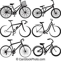-, fiets, silhouette, overzichten