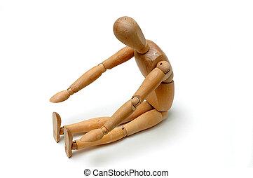 -, figurine, portée, asseoir