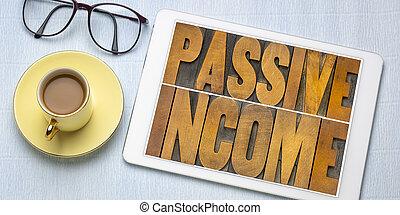 -, financieel, passief, inkomen, concept
