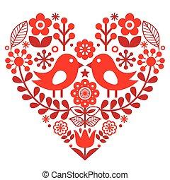 -, finlandés, patrón, valentino, inspirado, gente, aves, flores, día