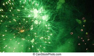-, fireworks., balles, vert, hd