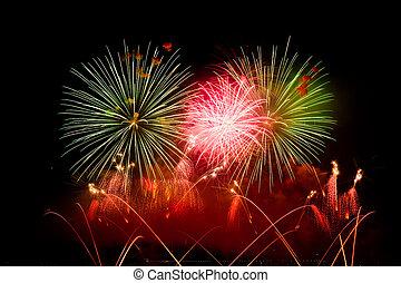 -, fireworks, ginevra, svizzera