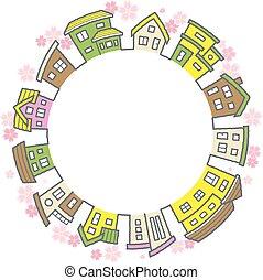 -, fleurs, cerise, fond, cfircle, cadre, blanc, maisons