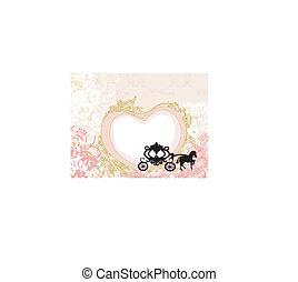 -, floral, fundo, desenho, carruagem, vindima