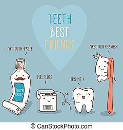 -, floss., tand, voorbij, teeth, vrienden, best, borstel