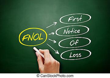 -, fnol, märka, första, akronym, förlust